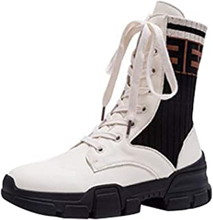 Women's Platform Retro Leather Stitching Fashion Motorcycle Martin Boots (Color : White, Size : 34EU)