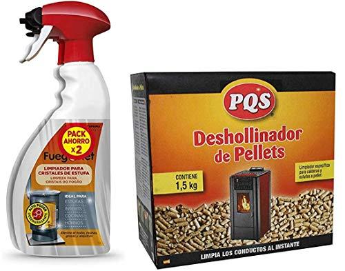 Kit DE 2X750ml LIMPIACRISTALES FUEGONET + DESHOLLINADOR EN PELLETS PQS