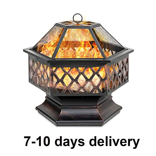 DTLEO Hex-Shaped Steel Fire Pit, Outdoor Fire Pit Bowl BBQ Grill,for Garden Backyard Poolside Campfire Barbecue,with Flame-Retardant Mesh Lid