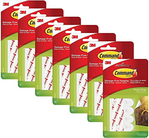 Command Poster Hanging Strips, 12 Strips, White, 17024, Pack of 7 (84 Total)