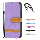 Samsung Galaxy M20 Leather Case,TOYYM Slim Jean Design PU Leather Wallet Cover Card&Cash Slots Stand Feature Magnetic Closure,Flip Notebook Case for Samsung Galaxy M20-Purple