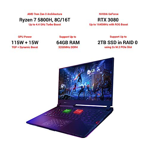 ASUS ROG Strix Scar 15 (2021), 15.6-inch FHD 300Hz/3ms, AMD Ryzen7 5800H, GeForce RTX 3080 8GB Graphics, Gaming Laptop (16GB RAM/1TB SSD/Office 2019/Windows 10 Home/Black/2.3 Kg), G533QS-HF197TS