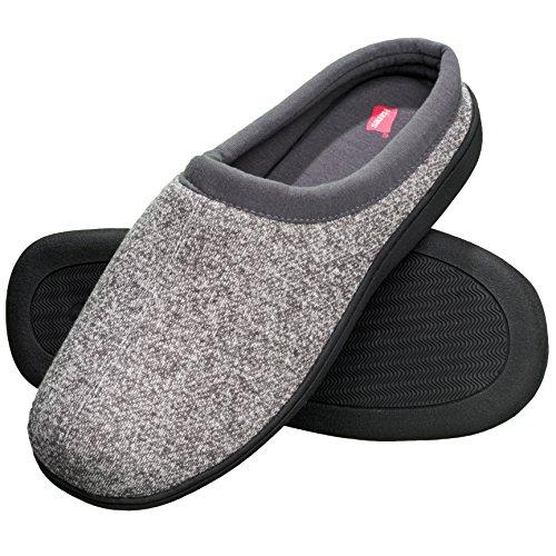 Hanes Men's Memory Foam Indoor Outdoor Clog Slipper Shoe with Fresh IQ, Grey, LG
