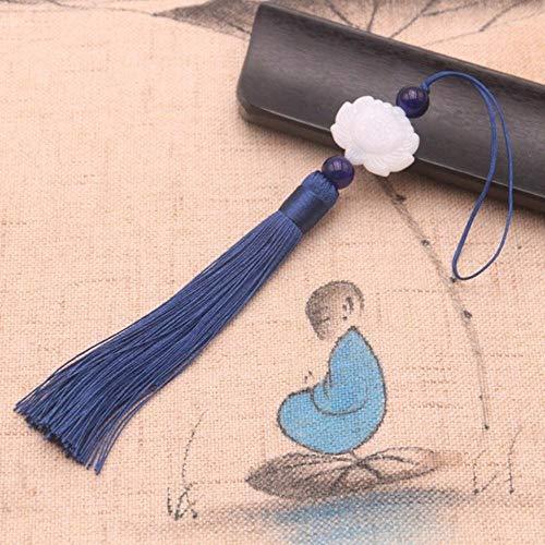 Piner 16.5CM Witte jade lotus kwast hanger retro DIY kleding lampenkap kwast gordijn decoratie woondecoratie benodigdheden, W1PCS, S