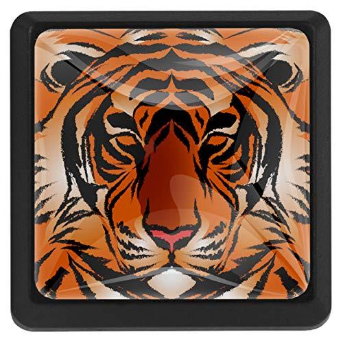 [4 piezas] pomos de aparador, coloridos pomos decorativos para cajón, decoración del hogar, pomos de tigre, diseño de rayas de bengala