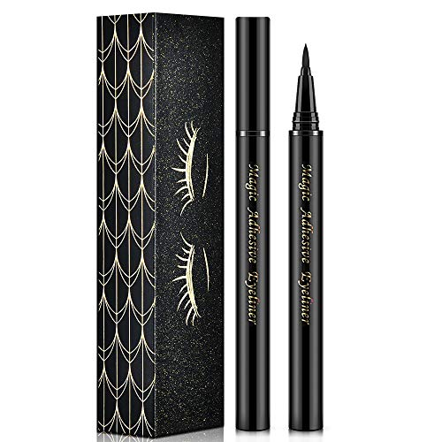 Eyeliner Pen, 2 In 1 Self-adhesive Liquid Black Eyeliner, Waterproof, Quick dry, Long Lasting Make Up Liner, No Glue Needed for Eyelashes