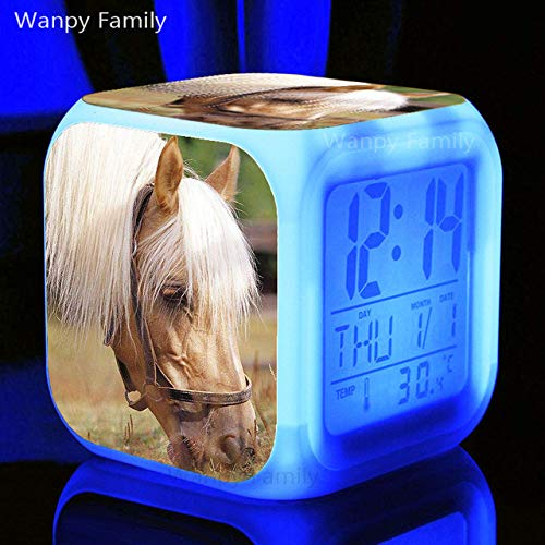 shiyueNB Running Grassland Horse Alarm Clock 7 Color LED Brillante Reloj Despertador...