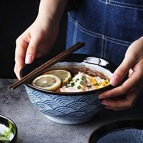 Creativo Azul Mar Ripple Cerámica Ramen Bowl Japonés Vajilla Hogar Big Bowl Sopa Bowl Fruta Ensalada Bowl Pintado A Mano