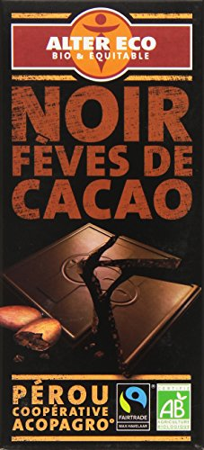 Alter Eco Tablette de Chocolat Noir Fèves de Cacao Bio et Equitable 100 g