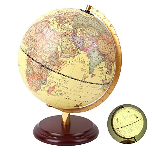 Cerlingwee Globe, World Style Globe, Antique 25CM 3D Vintage for School Office Home Decoration Kids Gift(25cm antique with light)