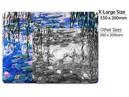 Extra Large (X-Large) Size Non-Slip Rectangle Mousepad, FINCIBO Claude Monet Water Lilies Mouse Pad for Home, Office and Gaming Desk Photo #3