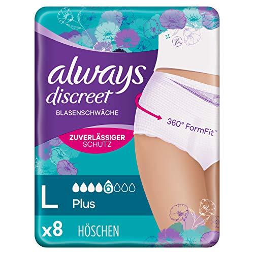 Always Discreet Inkontinenz-Höschen Plus, Größe L, 1er Pack (1 x 8 stück)