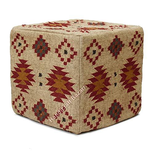 Handicraft Bazarr Traditioneller rustikaler Kelim-Wolle, Jute-Hocker, Hippie-Stil, Vintage, Fußhocker, Wolle, handgewebt, Kelim-Muster, geometrisches Pouf-Bezug (45,7 x 45,7 x 45,7 cm)