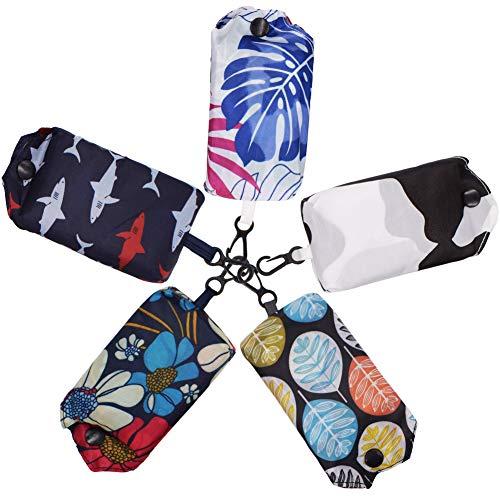 WENTS Einkaufstaschen Faltbare 5PCS Wiederverwendbare Einkaufstasche im Beutel,Leichte,Große,Tragbare,Kapazität in Einer Tasche mit Reißverschluss waschbar 38 * 60cm