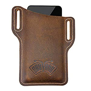 EASYANT Leather Cell Phone Holster Men Universal Case Waist Bag Sheath with Belt Loop Brown