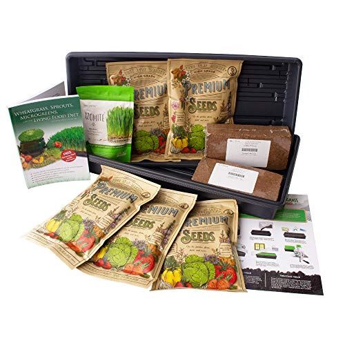Living Whole Foods Certified Organic Wheatgrass Growing Kit - Grow & Juice Wheat Grass: Trays, Seed, Coco Coir Soil, Instructions, Wheatgrass Book, Azomite Fertilizer & More