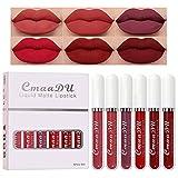 6Pcs Matte liquid lipstick Set,Dark Red Matte Lipstick Lip Stain Long Lasting 24 Waterproof Lip Gloss Gift Set ,Lipstick Sets for Women Lippies Lip Matte Makeup Lipgloss Beauty Cosmetics Kit04