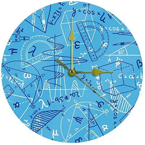 LKLFC Grande Horloge Murale Cuisine Horloge Salon Chambre Bureau Salle De Bains Horloge Murale Enfants Horloge Silencieux Quartz Non-Ticking Pile Horloge Suspendue 25cm - Formule Mathématique