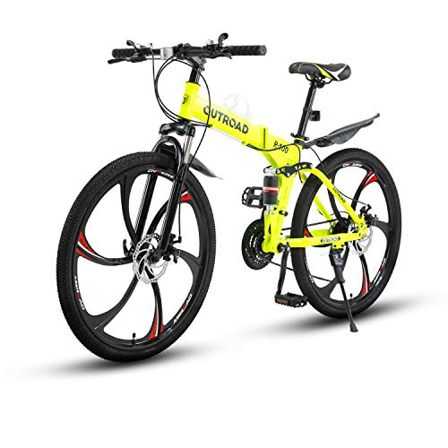 Max4out Mountain Bike Folding Bikes with High Carbon Steel Frame, Featuring 6 Spoke Wheels and 21 Speed Shimano Shifter, Double Disc Brake and Dual Suspension Anti-Slip Bicycles (Green, 26 in)
