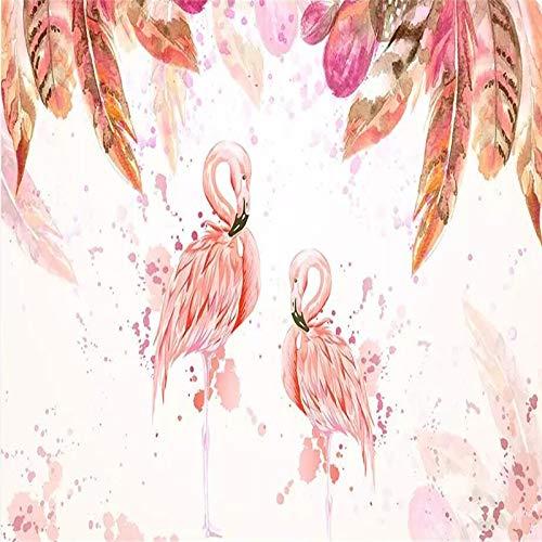 Flamingo roze aquarel veer tv-achtergrond muur behang wandfoto foto muur (H)300*(B)210cm Pro