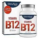 GloryFeel Vitamina B12 Sublingual 1000mcg - 200 tabletas veganas de metilcobalamina - B12 Apoya el sistema inmunológico, disminuye el cansancio y la fatiga - Sin aditivos fabricado en Alemania