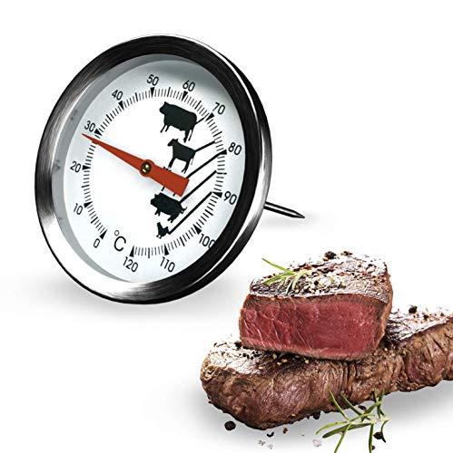 Fleischthermometer Grillthermometer Bratenthermometer mit dem Messbereich von 0°C bis 120°C Grill Temperaturfühler für Steak Lamm Schwein Kalb und Geflügel Küchenthermometer Haushaltsthermometer