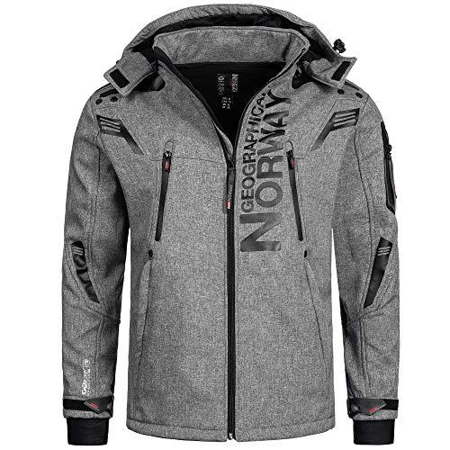 Geographical Norway Herren Softshell Funktions Outdoor Jacke wasserabweisend im Bundle mit urbandreamz Beanie (XXL, Talentueux Blended Grey)