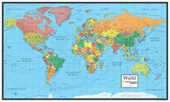 30x48 World Wall Map by Smithsonian Journeys - Blue Ocean Edition  30x48 Laminated