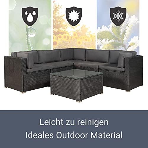 ArtLife Polyrattan Lounge Nassau schwarz | Gartenmöbel Set mit Ecksofa & Tisch | Bezüge in Grau | Sitzgruppe für Terrasse | Loungemöbel Gartenlounge - 5