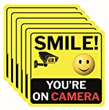 Smile You're On Camera Sign, Double-Sided 6 Pack 6'x6' Vinyl Decals for Video Surveillance Signs in/Outdoor, Laminated for UV & Water, Warning Signs, Security Signs, Camera Sign