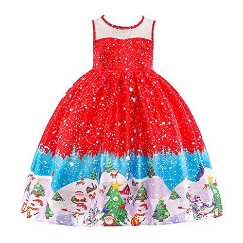 Amosfun Christmas Girls Dress Princess Printed Dress Christmas Kids Outfits Festive Party Long Costume (Size 100cm, Red)