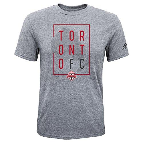 MLS Toronto FC Boys Triblend Framed Shorts Sleeve Tee, Heather Grey, Large (14-16)