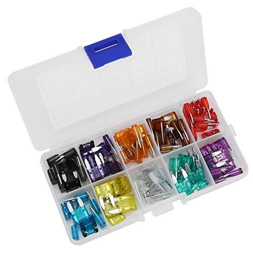 Mini fusibles, 100 piezas de fusible de hoja estándar para automóvil Mini aleación de zinc 2A 3A 5A 7.5A 10A 15A 20A 25A 30A 35A para mini automóvil, barco, camión, SUV, automotriz, fusibles de repues