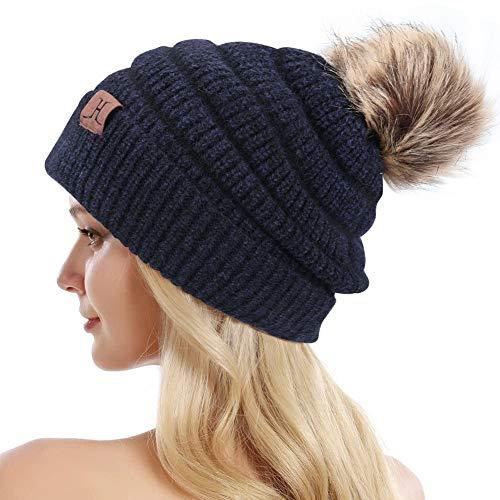 Bequemer Laden Bonnet en Tricot d'hiver pour Femme, épais en Fausse Polaire doublé de Fourrure Amovible Pom, Bonnet Souple et Chaud pour Les Femmes,Taille unique,Bleu