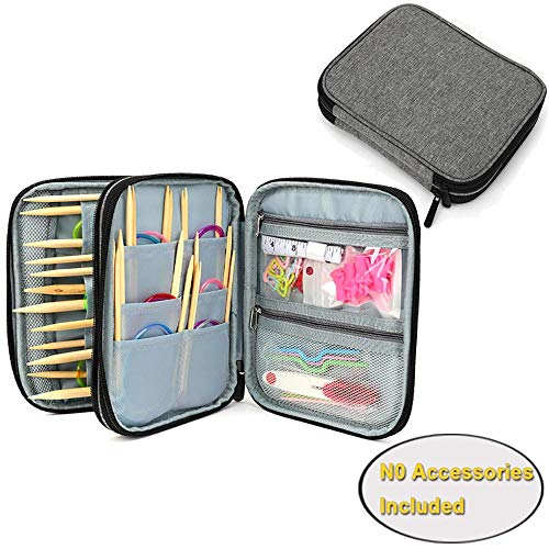 LOOEN Grau Stricknadeln Tasche,Organizer Tasche für Rundstricknadeln, 23.6 Zoll Stricknadeln und anderes Zubehör für Zuhause und Reisen (Keine Zubehör enthalten)