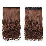 REECHO 20' 1-Pack 3/4 Full Head Curly Wave Clips in on Synthetic Hair Extensions Hairpieces for Women 5 Clips 4.6 Oz per Piece - Medium Warm Brown