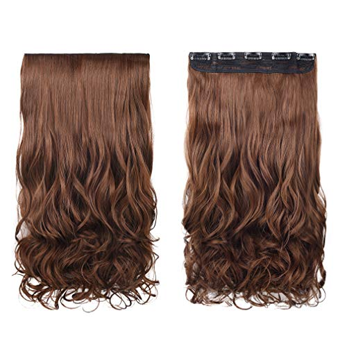 """REECHO 20"""" 1-Pack 3/4 Full Head Curly Wave Clips in on Synthetic Hair Extensions Hairpieces for Women 5 Clips 4.5 Oz per Piece - Medium Warm Brown"""