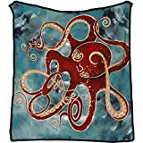 RyounoArt Octopus Throw Blanket Red Sea Animal Long Tentacles Print Airconditioning Blanket Marine Ocean Life Blanket Flannel Soft Lightweight Warm for Bed Couch Sofa 50'x60'