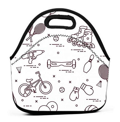 Lunch Bag mit breiter Öffnung, Mittagessen Fahrradrollen Gyroscooter Boxhandschuhe Wasserpistole Waren Bowling Tischtennis Tennis Fußball
