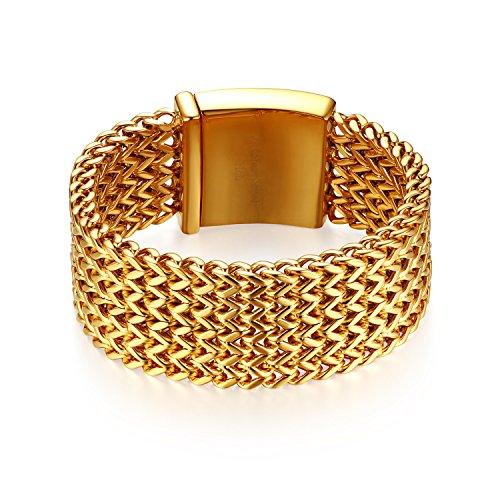 JewelryWe Schmuck Herren Armband, 30mm Breit Groß Schwer Hochglanz Poliert Panzerkette Gliederkette Armkette, Edelstahl, Gold, kostenlose Gravur
