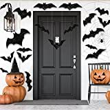 CCINEE 3D Halloween Hanging Bats Decoration,Large Glittery Bat Wall Decal Stickers for Halloween Party Decor Supply,36PCS