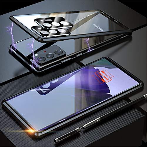 Yidai-Silu - Cover magnetica per Samsung Galaxy Note 20 Ultra da 6,9', protezione per fotocamera, 9H anteriore e posteriore in vetro temperato, antigraffio, colore: Nero