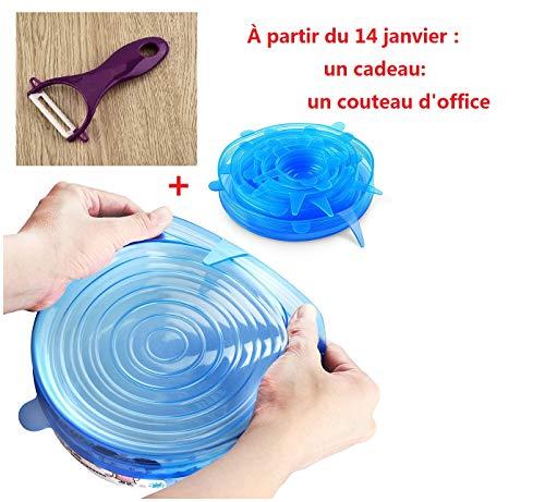 Nouvelle arrivée Mmtop Coque en silicone couvercles pour bols Tasses Nourriture Coque Lot de 6 Food Saver stretch Couvercle Wrap (Bleu)