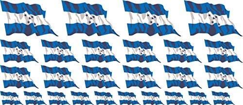 Mini Aufkleber Set - Pack wehend - 4x51x31mm+12x33x20mm+10x 20x12mm- Aufkleber - Fahne - Honduras - Flagge - Banner - Standarte fürs Auto, Büro, zu Hause und die Schule - Set of 26
