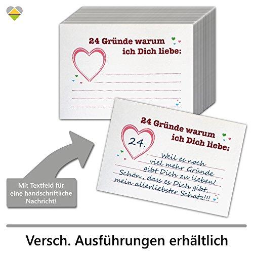 cute-head DIY Adventskalender Set zum Basteln | 24 Gründe Warum ich Dich Liebe | Herz | 24 Karten zum Beschriften | 74 x 105 mm | Rot | AKset-24G-nK-01-R