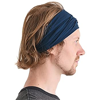 CCHARM Navy Japanese Bandana Headbands for Men and Women – Comfortable Head Bands with Elastic Secure Snug Fit Ideal Runners Fitness Sports Football Tennis Stylish Lightweight L