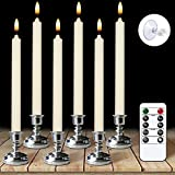 Flameless Window Taper Candles with Remote and Timer, Battery Operated 3D Wick LED Flickering Window Candles, 6 Pack Removable Silver Holder and Suction Cups, for Christmas Decoration, Set of 6(Ivory)