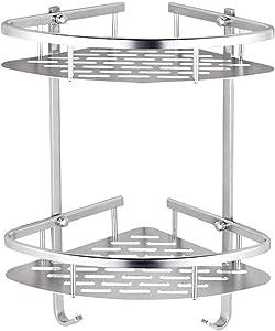 Auza Durable Aluminum 2 Tiers Triangle Corner Shower Caddy, Shower Organizer, Bathroom Shelf, Wall Mounted Shower Shelf, Storage Rack for Toilet,Shampoo,Dorm and Kitchen