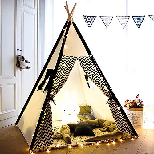 TreeBud Tenda da Gioco per Bambini con Tappetino, Tenda da Tenda Indiana per Bambini in Tela di Cotone con casetta da Gioco Nera Chevron per Bambini al Coperto all'aperto con Borsa per Il Trasporto