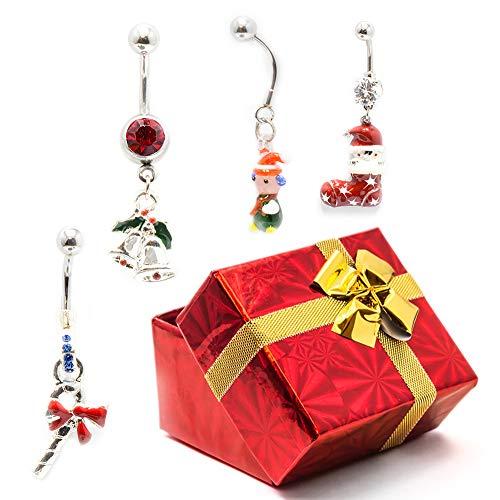BodyJewelryonline Erwachsene 4 Bauch Ring Pack + Urlaub Geschenk-Box - Zuckerstange, Jingle Bells, Kind, Strumpf